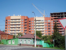 Construction of new apartment buildings in Kursk